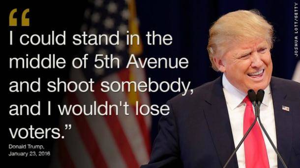 """I could stand in the middle of 5th Avenue and shoot somebody and I wouldn't lose voters."" Donald Trump, January 23, 2016"
