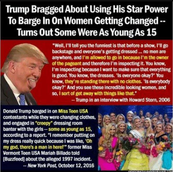So Christian men, if your daughter had been in Donald J Trump's Miss Teen USA pagent dressing room when he walked in there to perv on your 15 yr old daughter who was naked, and said disgusting things, how would you react?
