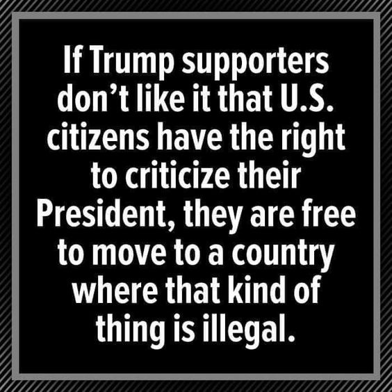 If Trump supporters don't like it that U.S. citizens have the right to criticize their president? They are free to move to a country where that kind of thing is illegal