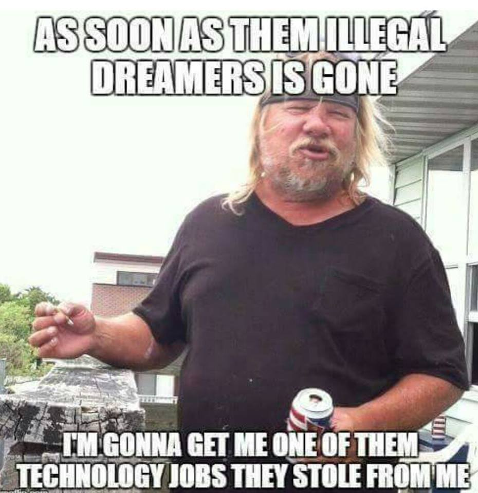 Trumpanzee: As soon as them illegal dreamers is gone I'm gonna get me one of them technology jobs they stole from me.
