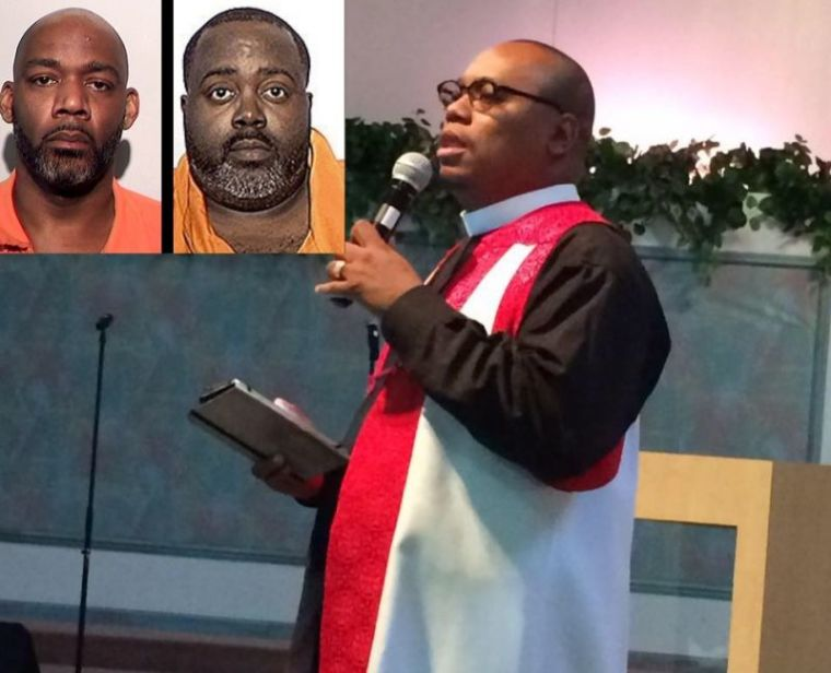 The Rev. Cordell Jenkins, 46, and the Rev. Anthony Haynes, 38 (inset L-R) and Pastor Kenneth Butler, 37, of Kingdom Encounter Family Worship Center in Ohio. | (Photos: Facebook; Mug shots)